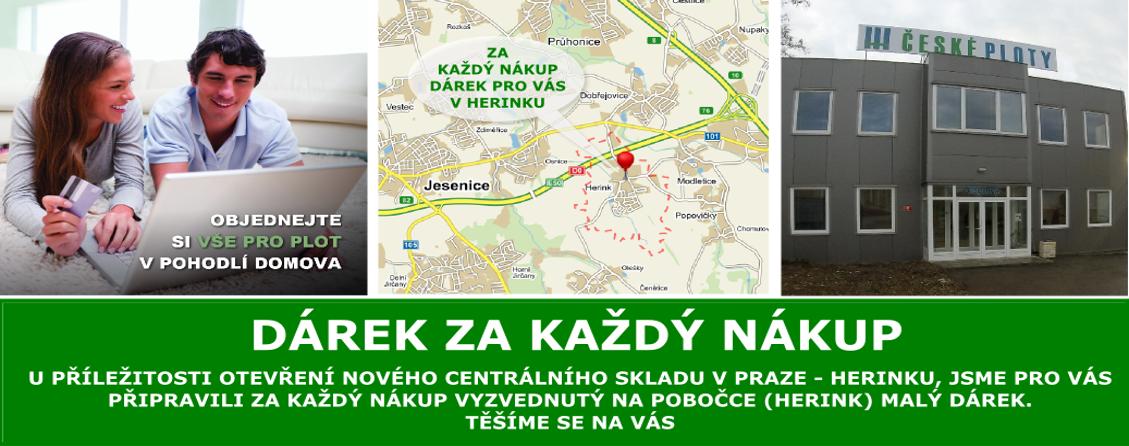 Dárek ke kazdému nákupu při vyzvednutí v novém centrálním skladu Praha Herink České Ploty
