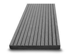 Dřevoplast WPC drážkovaná šedá rovná 100x10 mm
