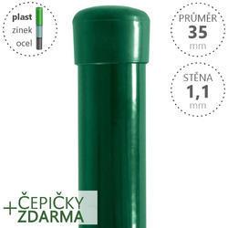 Sloupek DAMIPLAST® poplastovaný  35/1,1 zelený vč.čepičky