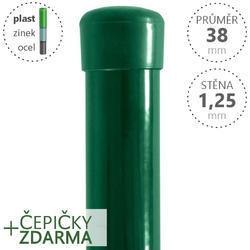 Sloupek DAMIPLAST® poplastovaný  38/1,25 zelený vč.čepičky