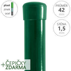 Sloupek DAMIPLAST® poplastovaný  42/1,5 zelený vč.čepičky