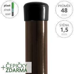 Sloupek DAMIPLAST® poplastovaný  48/1,5 hnědý vč.čepičky