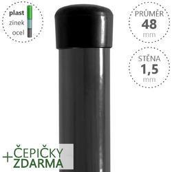 Sloupek Damiplast® poplastovaný  48/1,5 šedý vč.čepičky