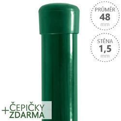 Sloupek DAMIPLAST® poplastovaný  48/1,5 zelený vč.čepičky