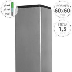 Sloupek DAMIPLAST® poplastovaný 60/60/1,5 Zn + PVC ŠEDÁ