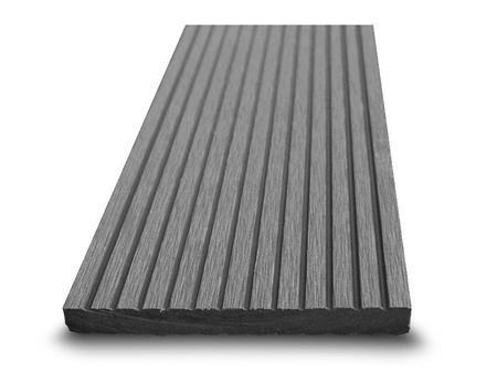 Dřevoplast WPC drážkovaná šedá rovná 100x10 mm - 1
