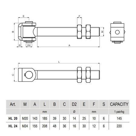 CA HL 20 - pant regulovatelný 72 kg - 2