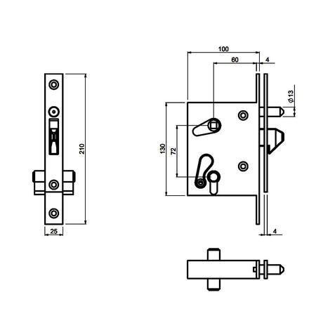 CA LOCK L - zámek pro posuvnou bránu s klíčem - 2