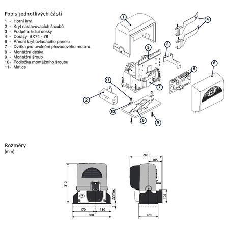 Sada elektronického pohonu do 4m a 400kg BX-74 Mini - 2