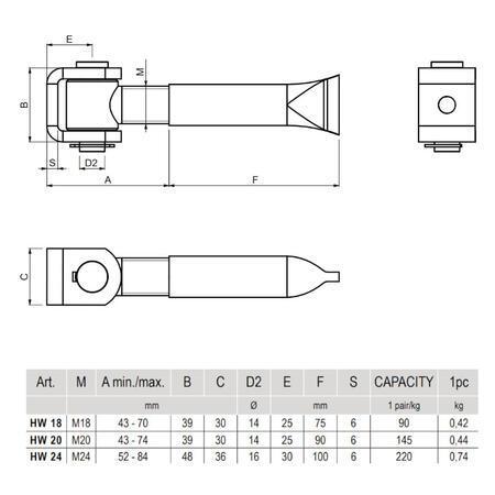 CA HW 24 - pant zazdívací regulovatelný do 110 kg - 3