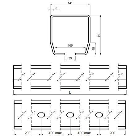 CA STAGE LZ 3 - šína zinkovaná 3 m - 3