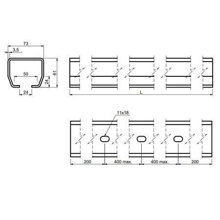 CA STAGE SZ 3 - šína zinkovaná 3 m - 3