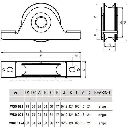 CA WSO 824 - pojezdové kolečko profilu C - 3