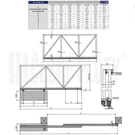 """SADA CA Kit Follow Me """"S"""" 4,25 - pro teleskopickou či dvoukřídlou bránu do 4,25m - 3"""