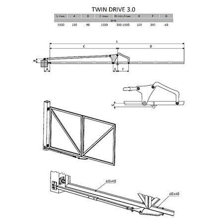 SADA CA Twin Drive 3,0 - pro lámací dvoukřídlou bránu do 3m - 3
