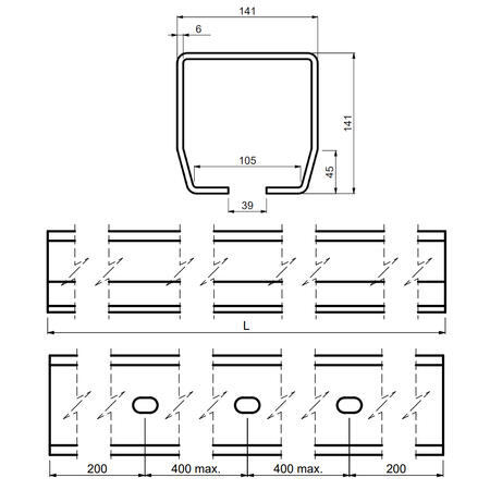 CA STAGE LB 6 - šína černá 6 m - 4