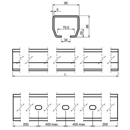 CA STAGE MB 4 - šína černá 4 m - 4