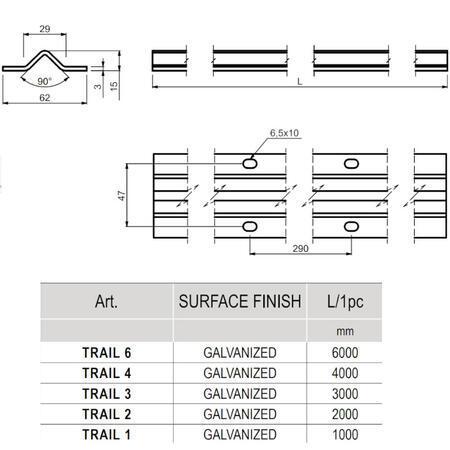 "CA TRAIL 3 - kolejnice ""V"" 3 m - 4"