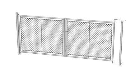Brána Savan 3600 mm, čtyřhranné pletivo, oko, zelená, výška 2000 mm, výška 2000 mm - 4