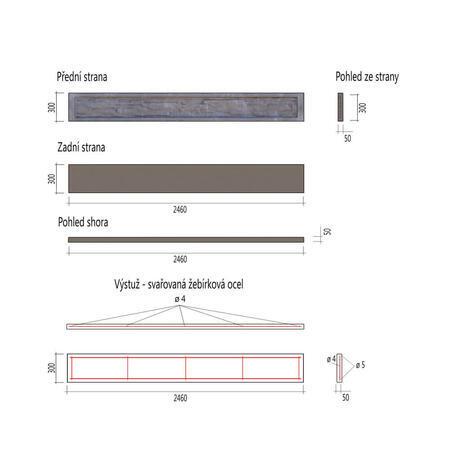 Podhrabová deska štípaný kámen 2460x300x50 mm - 5
