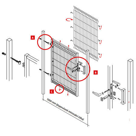Branka Pilofor 1094 mm, svařovaný panel, FAB, zelená, výška 1745 mm, výška 1745 mm - 6