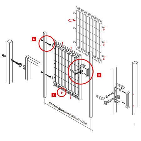 Branka Pilofor 1094 mm, svařovaný panel, FAB, zinek, výška 2045 mm, výška 2045 mm - 6